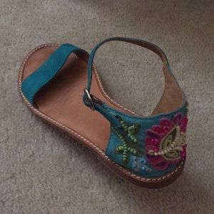 Anthropologist Turquoise suede beaded sandals